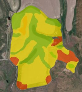 Satellite image of potential crop yield