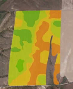 Infrared picture used to determine potential crop yield.